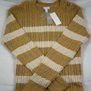 Charter Club Tan & Ivory Stripe Sweater